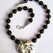 Smokey Quartz & Sterling Rose Necklace - SOLD