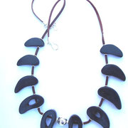 Goats Horn, Leather, Stg Silver Necklace - see Current Collection