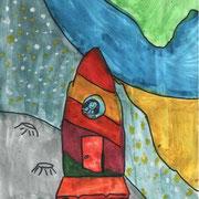 """""""Полёт на Луну"""". Рисовала Алина С., 2а класс"""