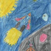 """""""Жители далёких планет"""". Рисовал Матвей К., 3б класс"""