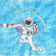 """""""Человек в космосе"""". Рисовал Виталий Р., 4б класс"""