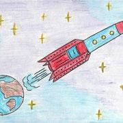 """""""Человек в космосе"""". Рисовал Антон Ч., 4б класс"""