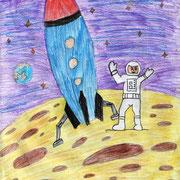 """""""Человек в космосе"""". Рисовала Валерия Д., 4б класс"""