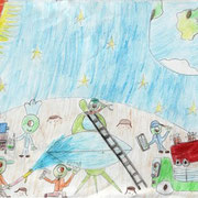 """Жители далёких планет"". Рисовала Ксения Ш., 1б класс"