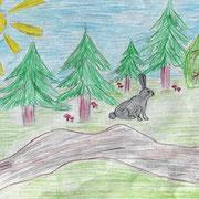 "Николай Рубцов. ""Про зайца"". Рисовал Дмитрий Б., 1а класс"