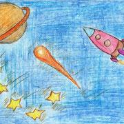 """""""Летим на Сатурн"""". Рисовала Валерия К., 2а класс"""