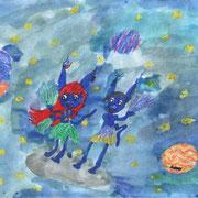 """""""Жители далёких планет"""". Рисовала Екатерина В., 1в класс"""