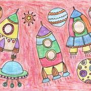 """""""Космические корабли"""". Рисовала Дарья Ч., 1б класс"""