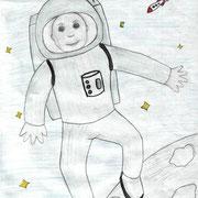 """""""Человек в космосе"""". Рисовала Анжела А., 4б класс"""