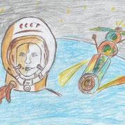 """""""Первый полёт"""". Рисовал Ярослав К., 2а класс"""