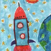 """""""Человек в космосе"""". Рисовала Валерия З., 4а класс"""