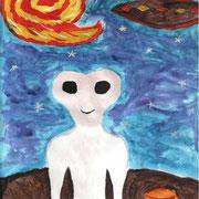 """""""Жители далёких планет"""". Рисовала Анжелика Б., 3д класс"""