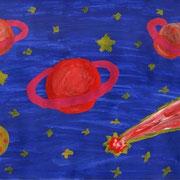 """""""Вселенная без границ"""". Рисовал Егор Щ., 1в класс"""