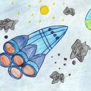 """""""Вселенная без границ"""". Рисовала Елизавета Г., 1б класс"""
