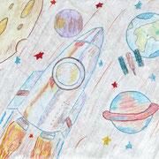 """""""В космосе"""". Рисовал Дмитрий М., 2а клас"""