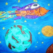 """""""Вселенная без границ"""". Рисовала Дана Р., 7а класс"""