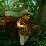 We had a jungle scene in Impy's Island 1 but decided to rework all elements/add a few new ones since the old stuff just didn't fit into the look of the vegetation on this movie anymore. I surfaced this entire scene except characters, rifle, jeep.