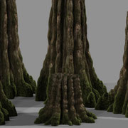 trees and plants were omnipresent in the movie. Here is a shadertest for a tree and how well it worked even when scaled non-uniformly (which makes distortionfree texturing just a pain in the a** but happens very often to make things fit)