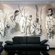 Wandmalerei Jazz-Style, Möbelhaus