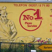 Werbung Pizza-Service, Wandbild inkl. Logo