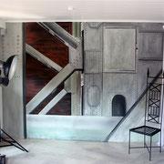 "Wandmalerei/Illusion/Steinimitation, Fotokulisse ""Stahl/Industrie"", Fotostudio Bucher"