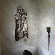 Siegfried-Wandgemälde und Wandgestaltung, Steinimitation, Hotel Gassbachtal & Nibelungen-Café