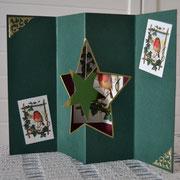 """Weihnachtskarte/Aufstellkarte kaminrot-gold """"Geruhsame Feiertage"""""""
