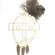 """""""Sculpture murale Hopi""""- Laiton et faïence, Alice Toumit, 33 cm"""