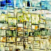 """""""Rives""""- acrylique sur toile- 80x80 cm- Sylvie trilles Fontaine"""