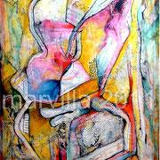San Jorge y Dragón - Mixta sobre tabla con bastidor 84 x 50 cm
