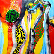 Ritmo Africano (serie Seguridad) - Mixta sobre lienzo 80 x 80 cm