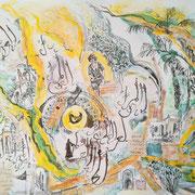Impressionen aus Marrakesch, Mischtechnik, 55 x 75 cm