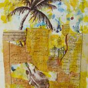 Die Palme lebt, Collage, Kartondruck, 30 x 40 cm