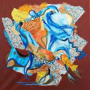 Die Farben von Marrakesch, Collage mit Acryl auf Leinwand, 50 x 50 cm