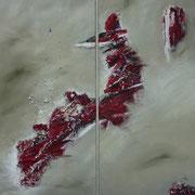 Aufstieg nach oben - Gipfel in Sicht? - Acryl Mischtechnik 60 x 60 cm, 2012