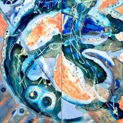 """EARTH FROM ABOVE"" diptych  (27x24)  (mixed oil/water media on glass)  $1500"