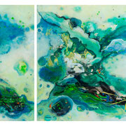"""COSMIC SEA""  diptych  (30x24/30x36-30x60 oa)   $4500 set (showing at Shanahan Collection)"