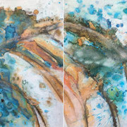 """ANDROMEDA'S  REFLECTIONS""  diptych  (30x40 ea / 30x80 oa)  $4400 set"