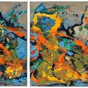"""GARDEN OF EARTH""  diptych  (33x79) $4500"