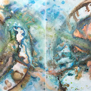 """THE EYE OF GOD""  diptych  (30x30 ea / 30x60 oa)   $1500 ea/$3000 set"