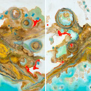 """ORION'S PAINT POTS""  diptych    (30x30 ea / 30x60 oa)   SOLD"