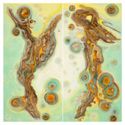"""EQUINOX~THE GREENING"" diptych  (48X24 ea / 48x48 o/a)   $5700."