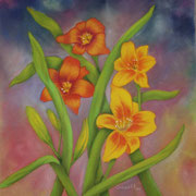 Daylilies II   -   Pastel & Watercolor  -  Available