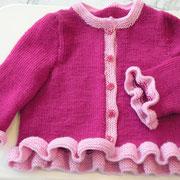 Babyjäckchen mit Rüschen aus 4 Kn. Zarina (3x pink, 1x rosa), Fr. K. Ebner