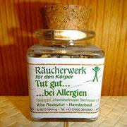 """Themen Räucherung, """" Tut gut bei Allergien"""", Räuchern mit Heimischen Wurzeln und Kräutern"""