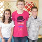 Podium individuel collège : Sarah (2ème), Louis (1er) et Dylan (3ème)