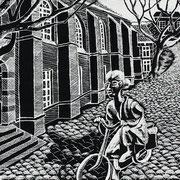 Westerkerk met fietsend meisje in laatste oorlogswinter / Leeuwarden