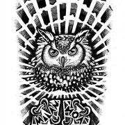 Uil met diamanten  tattoo,  in opdracht van Gjalt Helfrich