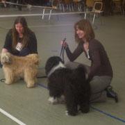 Meine Freundin Ramona und ich mit unseren Hunden bei der Präsentation im Ring