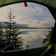 Good Morning: Ausblick vom Zelt.